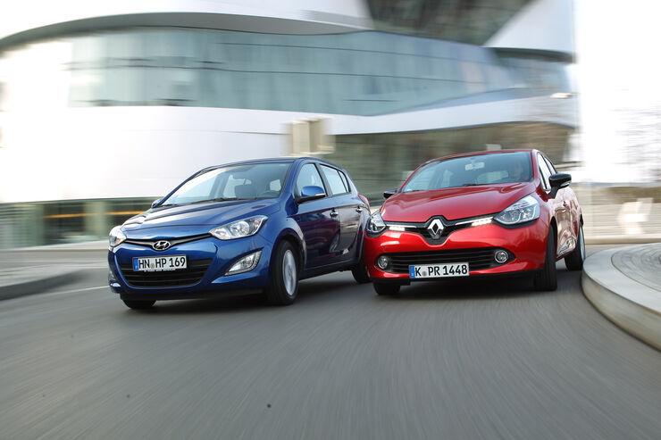 Hyundai i20 1.2, Renault Clio Tce 90, Frontansicht