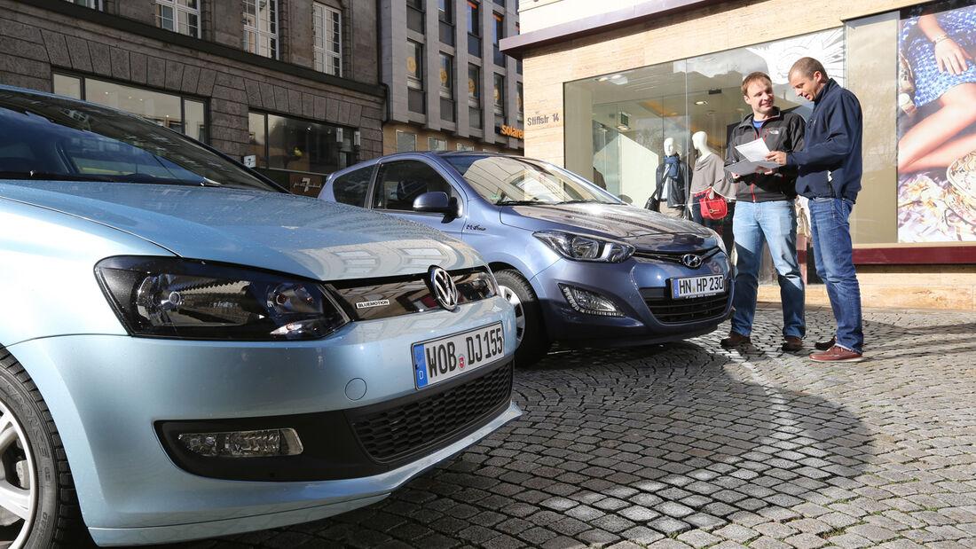 Hyundai i20 Blue 1.1 CRDi Trend, VW Polo 1.2 TDI Blue Motion 87G, Schnauze