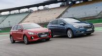 Hyundai i30 1.0 T-GDI, Opel Astra 1.4 DI Turbo, Frontansicht