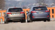 Hyundai i30 1.6 CRDI, Ford Focus 2.0 TDCi, Heckansicht