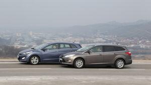 Hyundai i30 1.6 CRDI, Ford Focus 2.0 TDCi, Seitenansicht