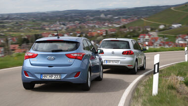 Hyundai i30 1.6 CRDi, VW Golf 1.6 TDI, Heck