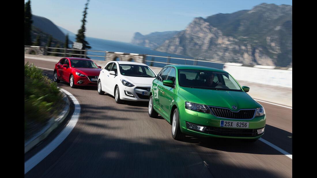 Hyundai i30 1.6, Mazda 3 Skyactiv G 120, Skoda Rapid Spaceback 1.4 TSI, Frontansicht