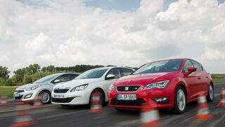Hyundai i30 1.6, Peugeot 308 125 THP, Seat Leon 1.4 TSI, Frontansicht