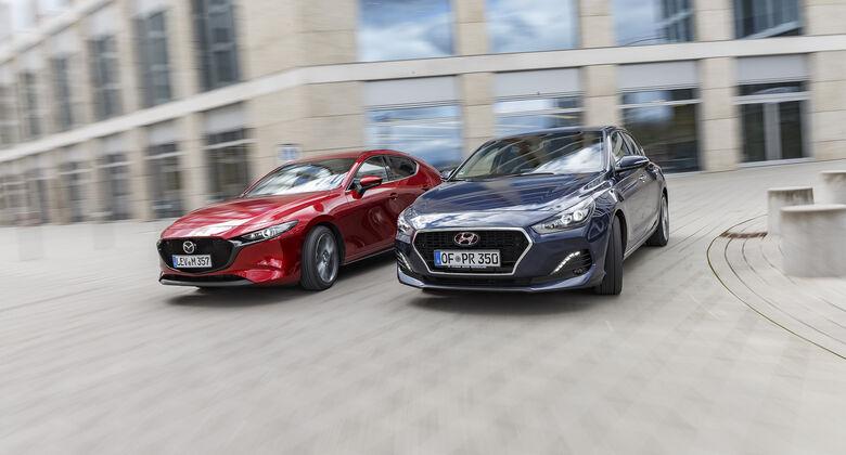 Hyundai i30 Fastback 1.4 T-GDI, Mazda 3 G 2.0, Exterieur