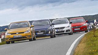 Hyundai i30, Opel Astra, Peugeot 308, VW Golf, Exterieur Front