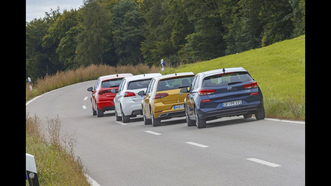 Hyundai i30, Opel Astra, Peugeot 308, VW Golf, Exterieur  Heck