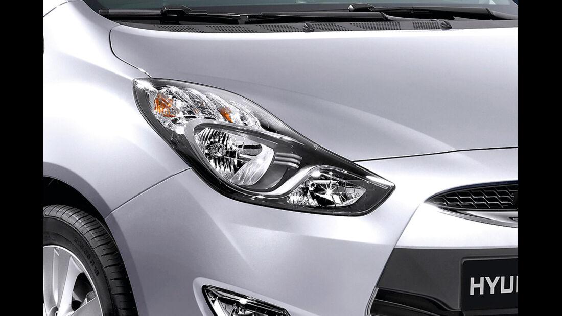Hyundai ix20, Detail, Scheinwerfer, Continental Silver