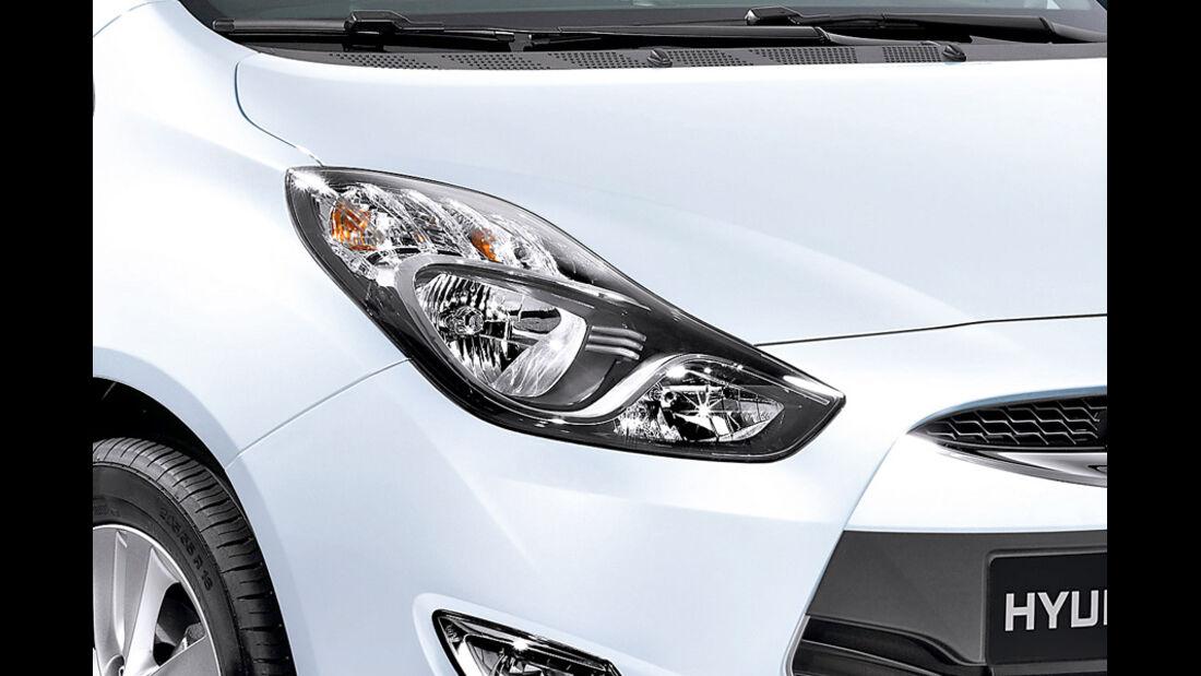 Hyundai ix20, Detail, Scheinwerfer, Crystal White