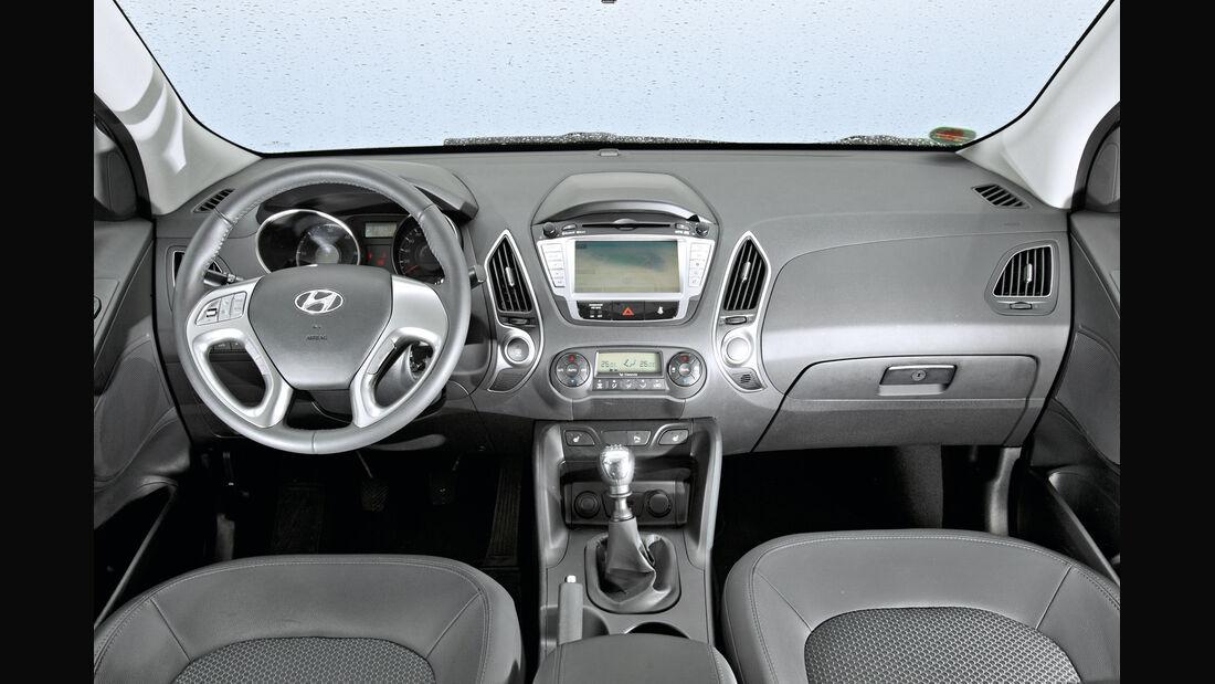 Hyundai ix35 2.0 CRDi, Cockpit, Lenkrad