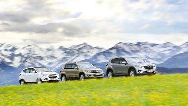 Hyundai ix35 2.0 CRDi, Mazda CX-5 2.2 D, VW Tiguan 2.0 TDI, Seitenansicht