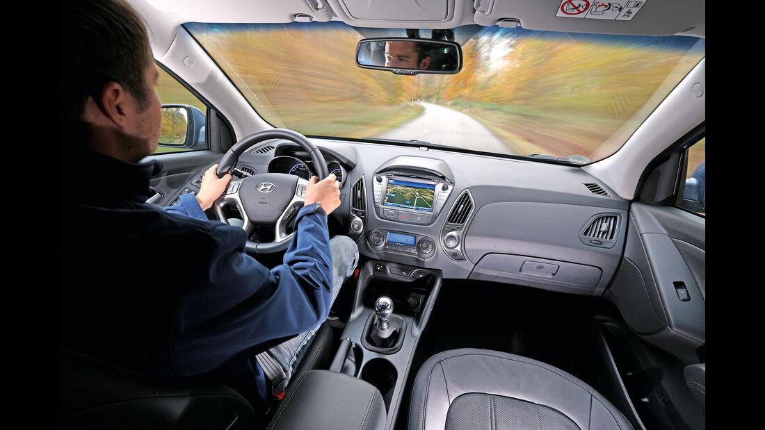 Hyundai ix35 2.0 GDI 4WD, Fahrersicht, Cockpit