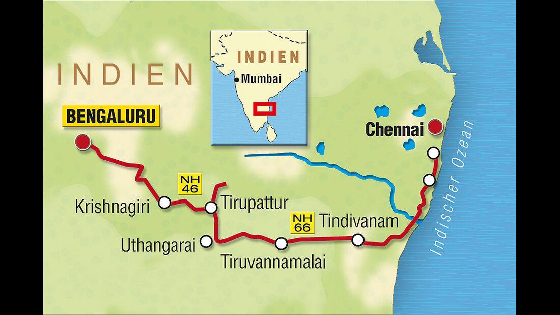 Indien-Testfahrt, VW Polo, Karte
