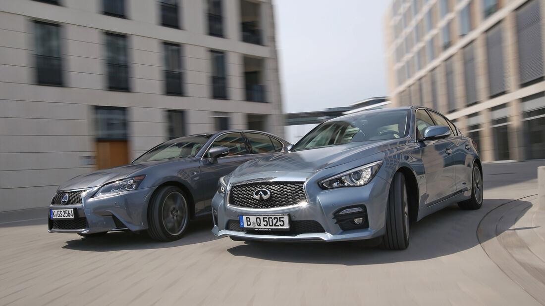 Infiniti Q50 S 3.5 V6 Hybrid, Lexus GS 450h F-Sport, Frontansicht