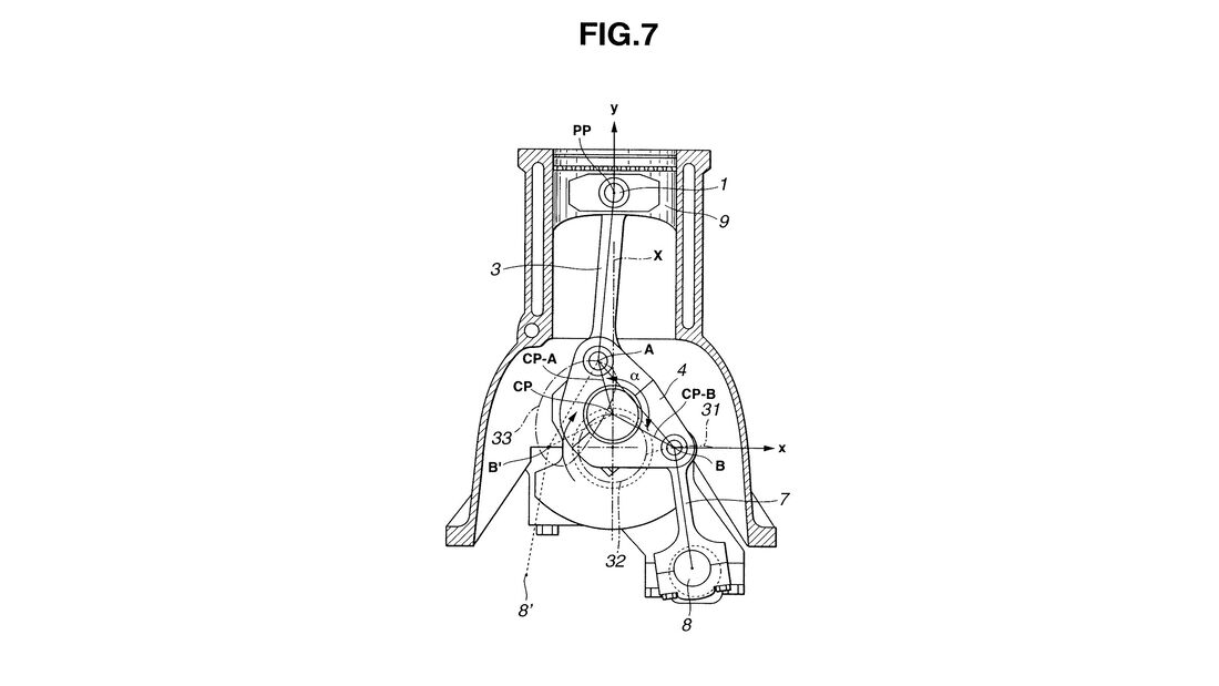 Infiniti VC-T Motor variable Kompression Patentzeichnungen