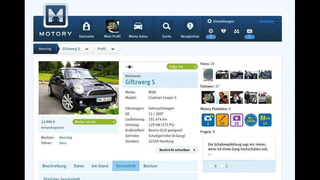 Internetportal Motory, Profil
