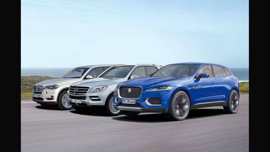 Jaguar C-X17, Mercedes ML, BMW X5, Seitenansicht