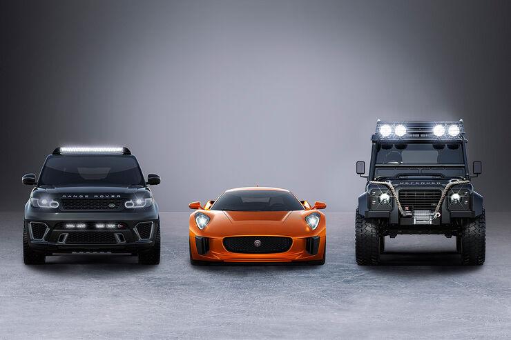 Jaguar C-X75, Land Rover Defender Bis Foot und Rage Rover Sport SVR Bond-Film Spectre