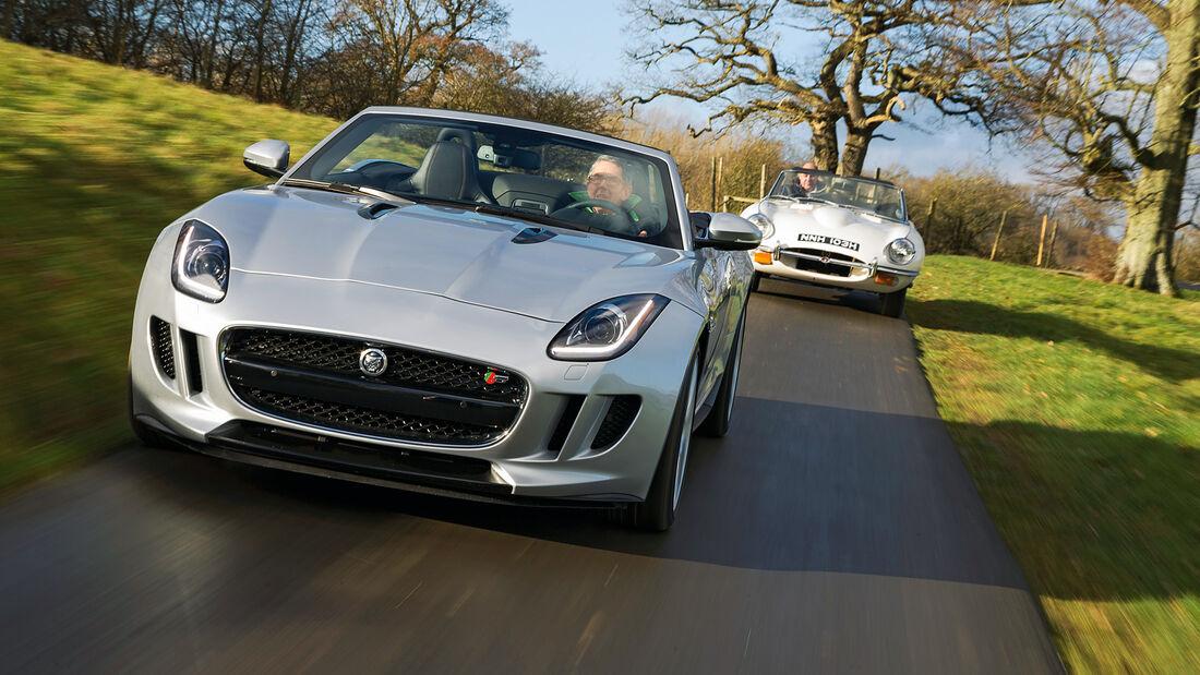 Jaguar E-Type, Jaguar F-Type, Frontansicht