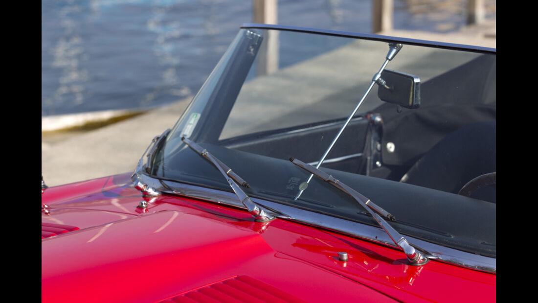 Jaguar E-Type Serie 1, Frontscheibe, Detail