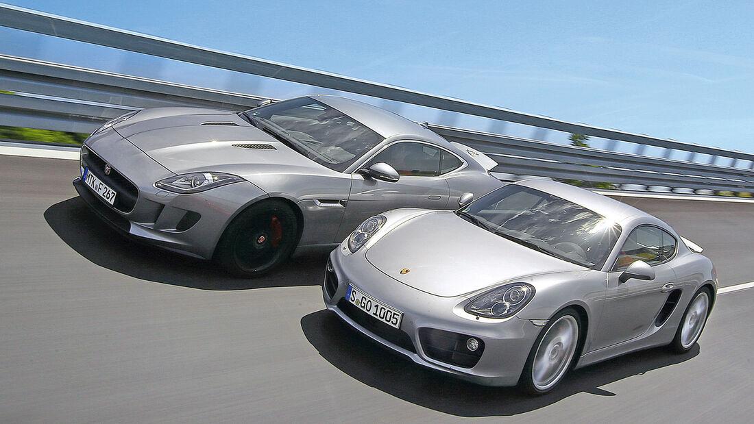 Jaguar F-Type 3.0 V6 Coupé, Porsche Cayman S, Frontansicht