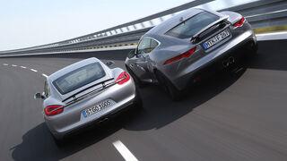Jaguar F-Type 3.0 V6 Coupé, Porsche Cayman S, Heckansicht