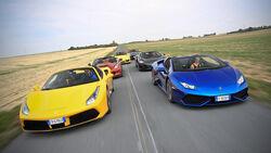 Jaguar F-Type, Chevrolet Corvette, Lamborghini Huracán, Porsche 911 Turbo S, Ferrari 488 Spider