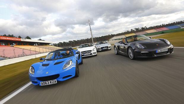 Jaguar F-Type, Lotus Elise S CR, Mercedes SLK 350, Porsche Boxter, Vergleichstest, spa 04/2014, Heftvorschau