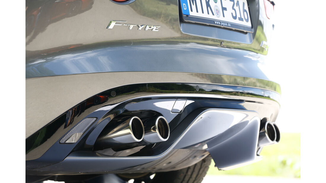 Jaguar F-Type R AWD Cabriolet, Auspuff, Endrohre