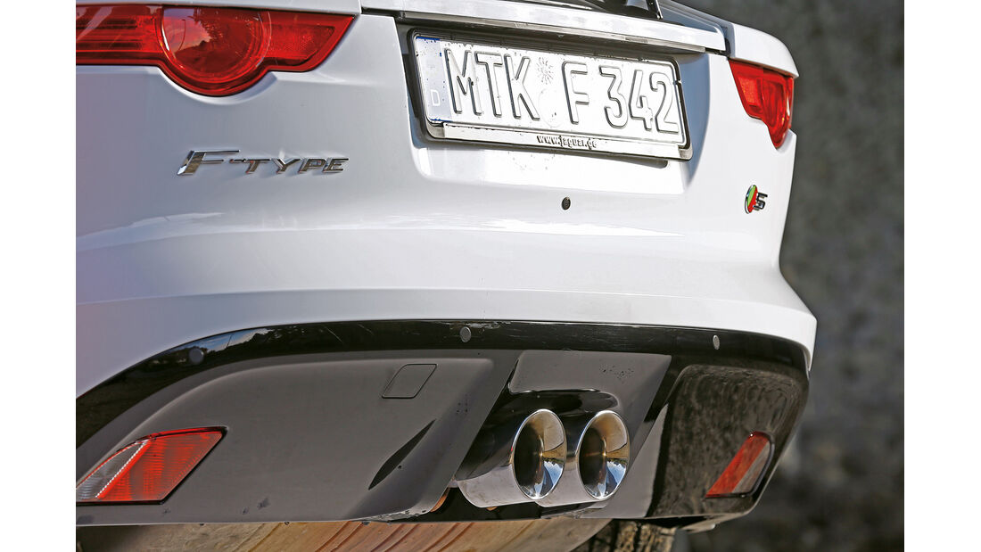 Jaguar F-Type S Coupé, Auspuff, Endrohre