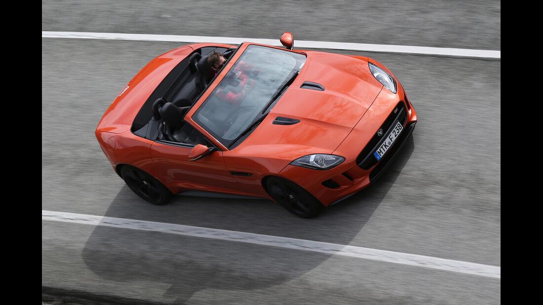 Jaguar F-Type S, Frontansicht, von oben