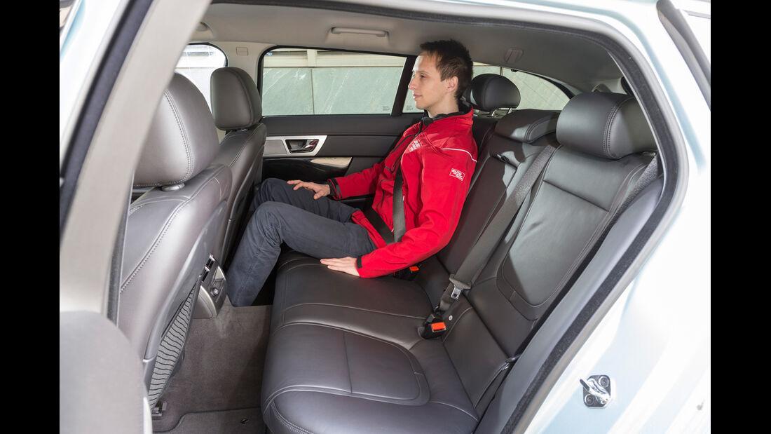 Jaguar XF Sportbrake 2.2D, Rücksitz, Beinfreiheit