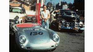 James Dean mit seinem Porsche 550 Spyder