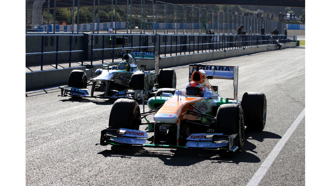 James Rossiter, Force India, Nico Rosberg, Mercedes GP, Formel 1-Test, Jerez, 7.2.2013