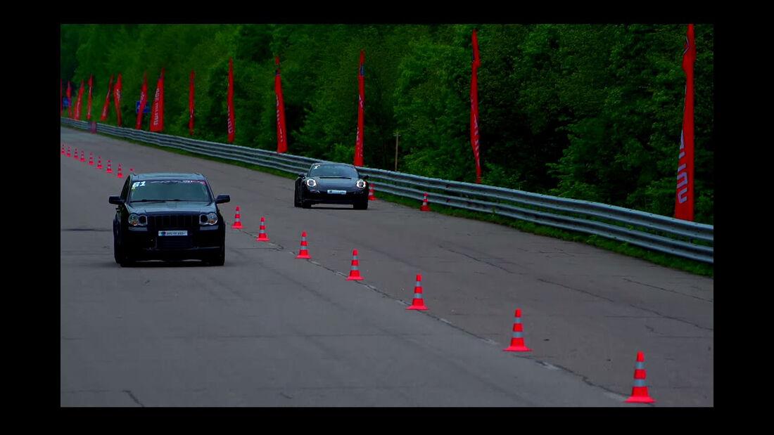 Jeep Grand Cherokee SRT8, Twin Turbo, Drag-Race, Porsche 911 Turbo S