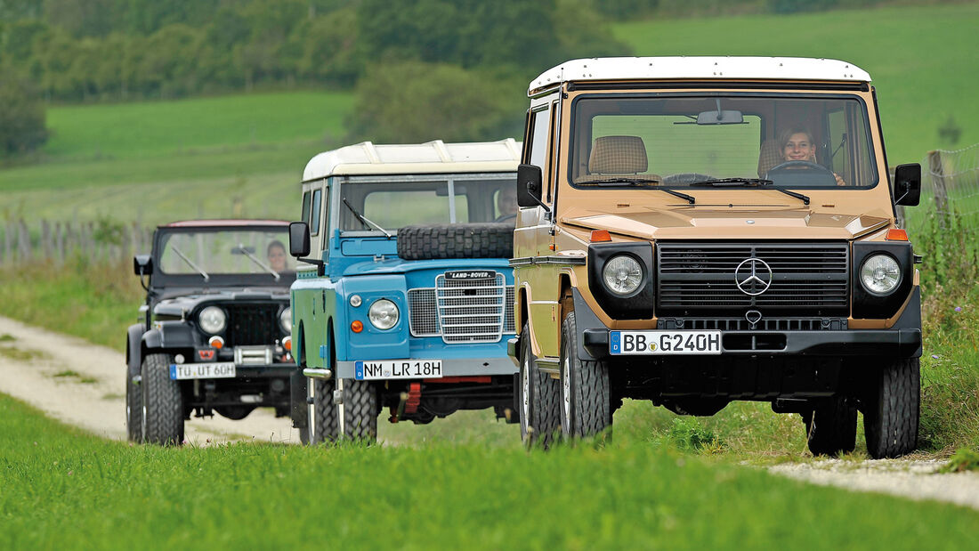 Jeep Wrangler, Land Rover 109, Mercedes-Benz 240 GD, Frontansicht