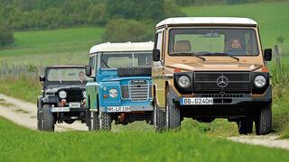 Jeep Wrangler, Land Rover 109, Mercedes-Benz 240 GD, Frontansicht