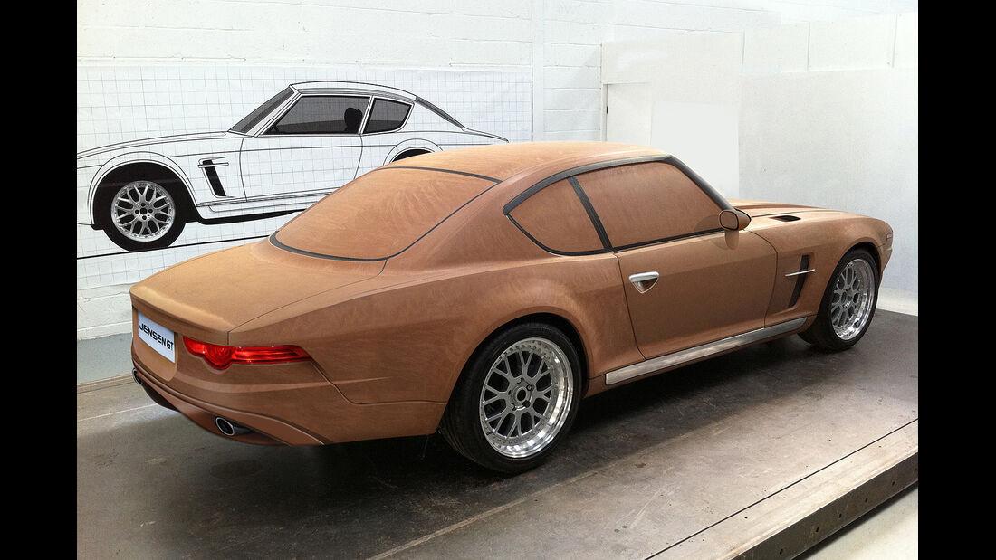 Jensen GT Clay Model Holzmodell Seitenansicht