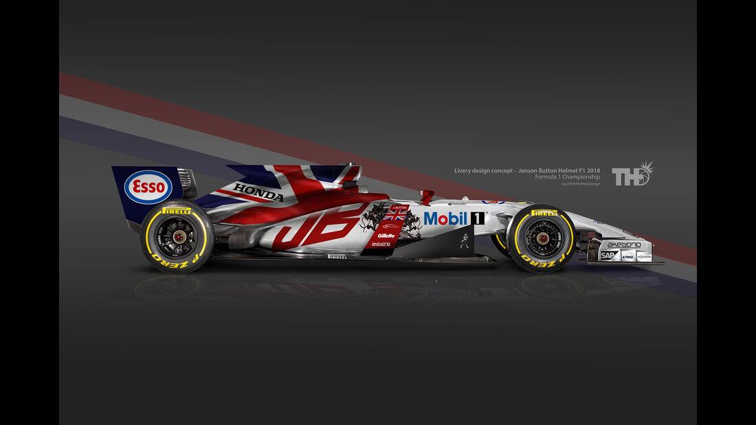 Jenson Button - F1-Autos mit Helm-Lackierung - 2016