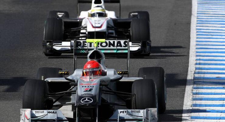 Jerez F1-Test 2010: Shumacher & De la Rosa