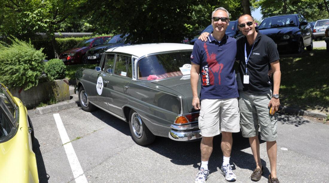 """Jörg Mannsperger und Stephan Heigl auf Mercedes-Benz 220 Seb: """" Einfach Super-Klasse, auch die geheime WP, die wir mächtig versaubeutelt haben."""""""