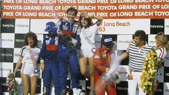 John Watson - McLaren - Niki Lauda - McLaren - Rene Arnoux - Ferrari - GP USA-West 1983
