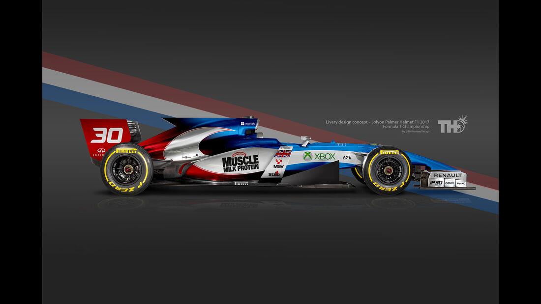 Jolyon Palmer - F1-Autos mit Helm-Lackierung - 2016