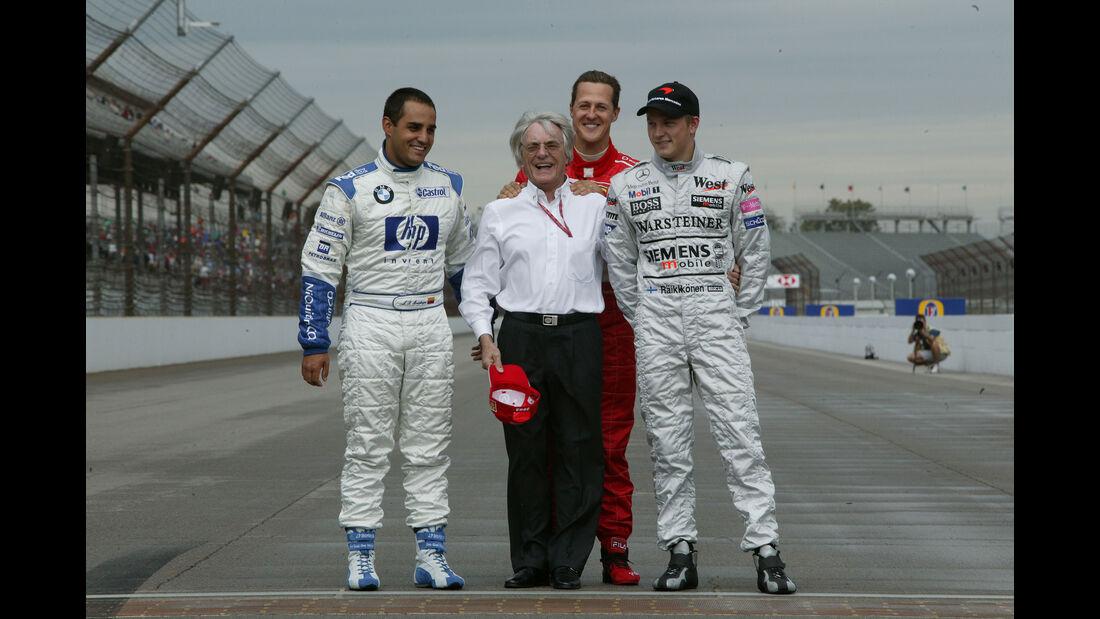 Juan Pablo Montoya - Bernie Ecclestone - Michael Schumacher - Kimi Räikkönen - GP USA 2005 - Indianapolis