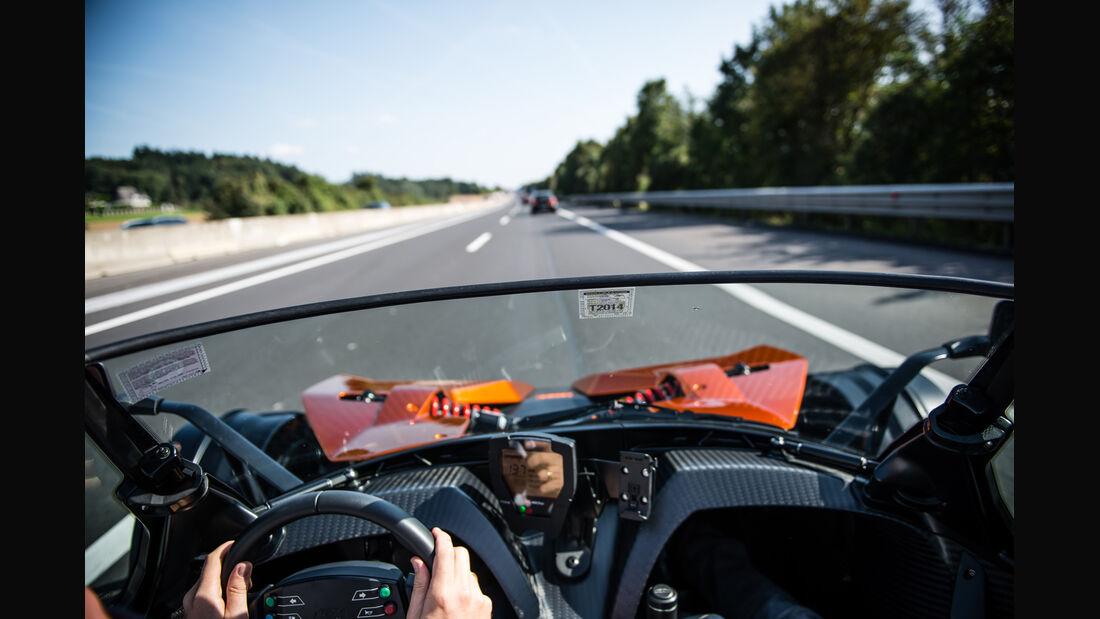 KTM X-Bow GT, Cockpit, Fahrersicht