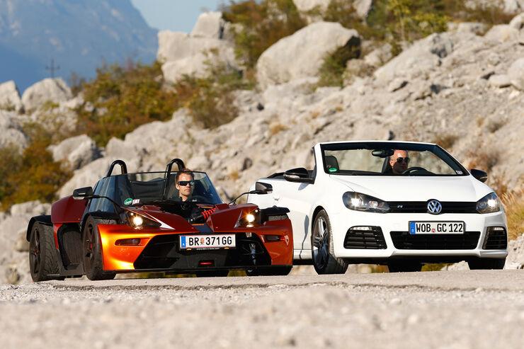 KTM X-Bow GT, VW Golf R Cabriolet, Frontansicht