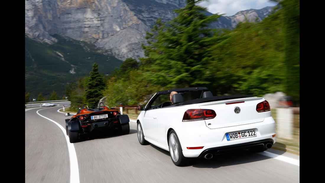 KTM X-Bow GT, VW Golf R Cabriolet, Heckansicht