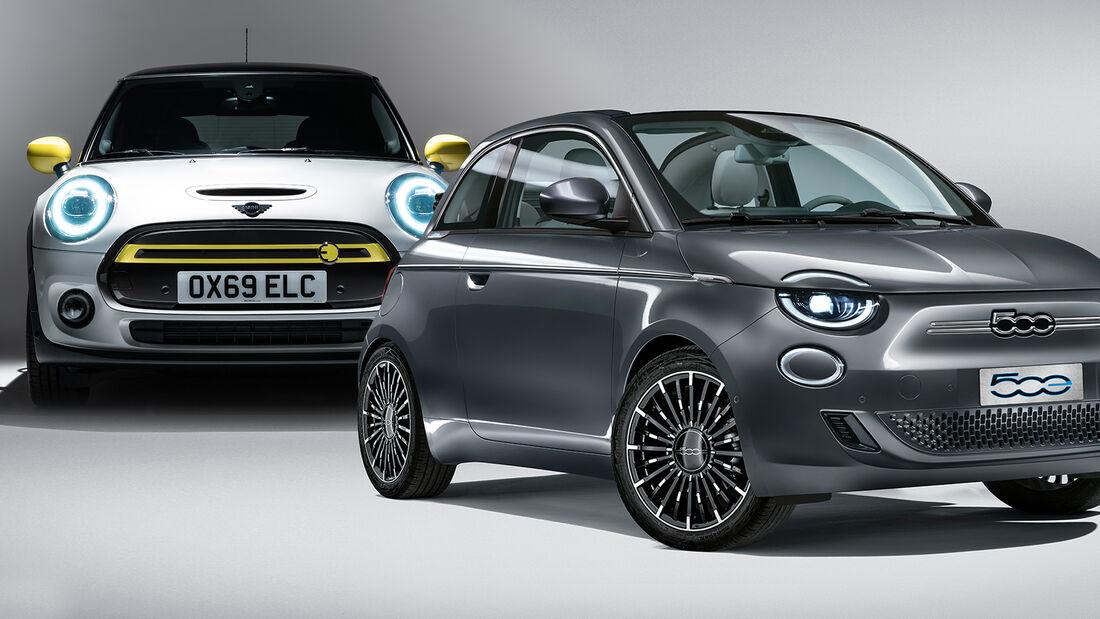 Kaltvergleich Genf 2020 Fiat 500e Mini Cooper SE