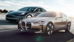 Kaltvergleich Genf 2020 Tesla Model 3 BMW i4