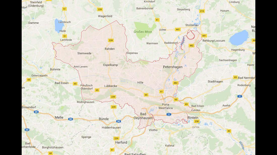 Karte Minden-Lübbecke